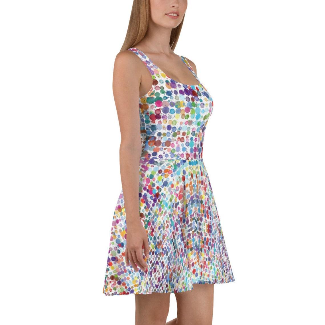 Watercolor Polka Dot Skater Dress