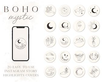 Instagram Story Highlight Covers, Boho Highlight Covers, Mystic IG Covers, Earth Tones Instagram Story Highlight Covers
