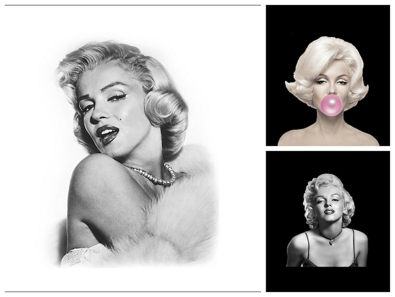 Altered Art Panels Craft Quilting Applique Panel of Marilyn Monroe design polyester Upholstery fabric 45x45 cm or 70x70 cm