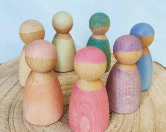 Natural Plain Wood Peg Doll male Figure with Top Hat 10 count 6.5cm x 2.5cm x 2.5cm