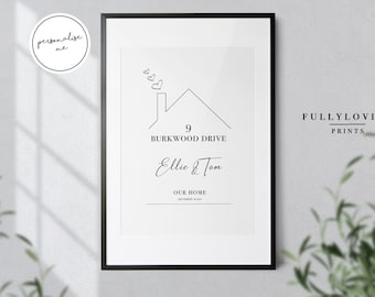 New Home Personalised Print   Moving Home Gifts   Wall decor   Wall Art   Family Home Prints   Couples New home Print   Christmas Gift