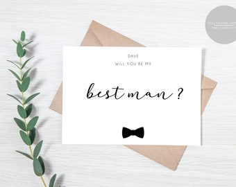 Will you be my Best Man - Usher - Page Boy - Groomsman  Personalised Wedding Proposal Card