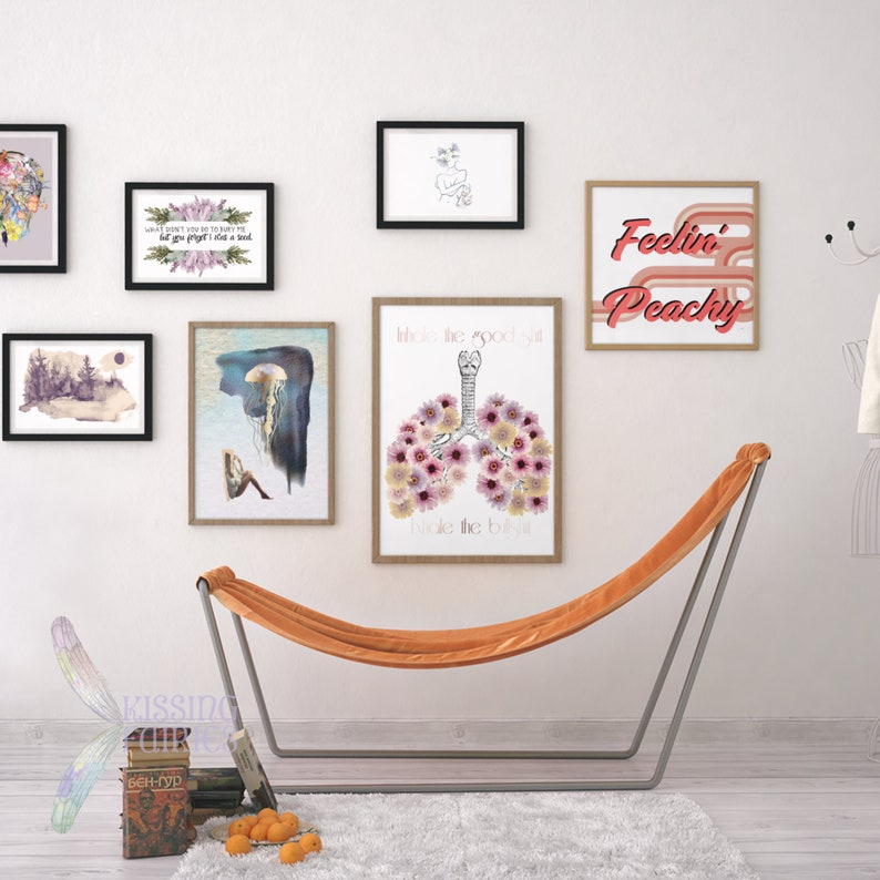 Inhale the Good Shit Exhale the Bullshit Art Print Illustrated Lungs with Watercolor Flowers Lineart Lungs with Flowers Funky Wall Art