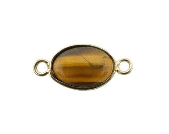 1pc 30x22mm Wholesale Circle Tiger Eye Connector Metal Gold Frame Charms for Bracelet Anklet Making