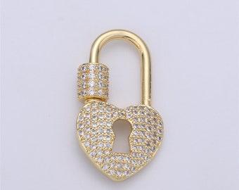 1 pc 32x14mm Wholesale 24K Gold-Plated Carabiner Eye Shape Pave Cubic Zirconia Rhinestones Circular Screw Clasp