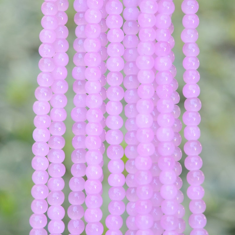 220pcs 4.1mm Lavender Round Glass Beads 1 Strand Approx Beads for Necklace Bracelet Making Prayer Rosary Mala Beads