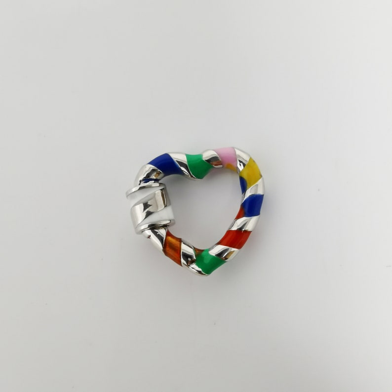 1 pc Wholesale Colorful Carabiner Circle Screw Clasp Candy Cane Swirl Design Silver-Plated Heart Shape