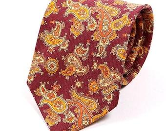 Orange paisley tie | Etsy