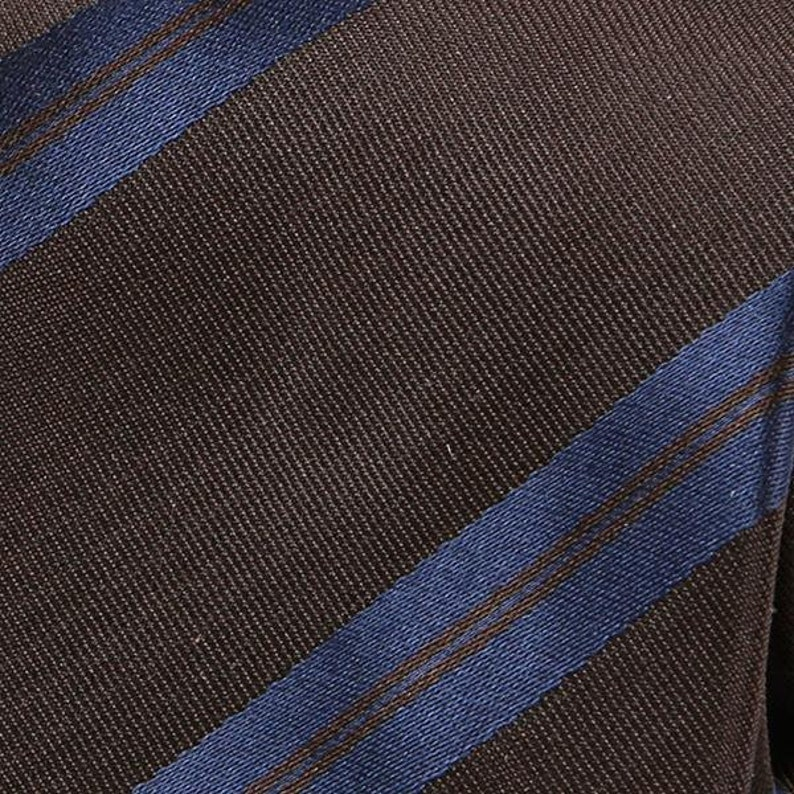 Striped Silk Tie Brown And Navy Blue Striped Gift for Him Men/'s Tie