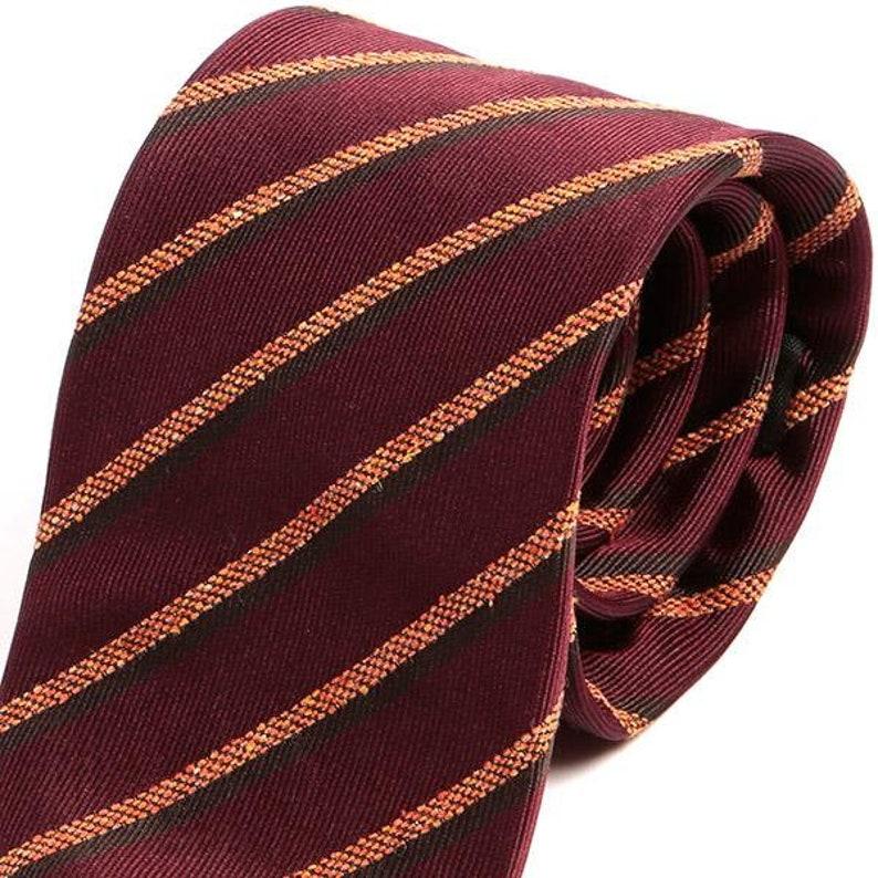 Gift for Him Mens Tie Striped Silk Tie Navy Blue Striped 7.5cm 100/% Silk Tie