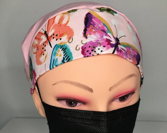 Pink Butterfly Medical Scrub Cap Bouffant
