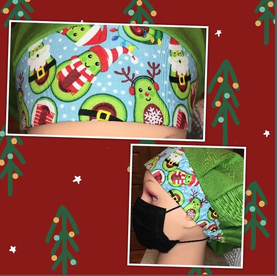 Christmas Holiday Santa Avocado Medical Scrub Cap Bouffant