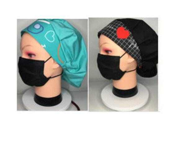 Heart of Work EKG Nurse Cardiac Medical Scrub Cap/Bouffant