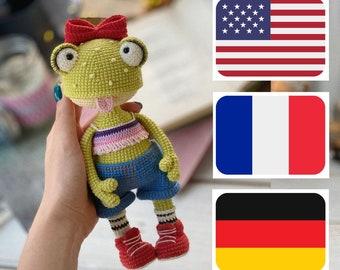 Crochet pattern for Klava the frog, PDF ( English , Français, Deutsche ) amigurumi