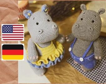 Crochet pattern for hippo Ostin and Lina, PDF (English, Deutsche) amigurumi