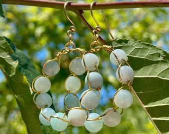 Braided Amazonite Hoop Earrings / Amazonite Earrings / Hoop Earrings / Drop Earrings / Gemstone Earrings / Braided Gold Earrings