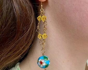 Crystal Chandelier Earrings / Swarovski Crystal Earrings / Floral Drop Earrings / Gold Crystal Earrings / Gold Chandelier Earrings