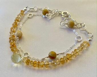 Citrine & Lemon Quartz Bracelet / Dainty Gemstone Bracelet / Citrine Bracelet / Quartz Bracelet / Gemstone Bracelet / Double Strand Bracelet