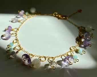 Amethyst & Ametrine Bracelet / Dainty Gemstone Bracelet / 14K Gold Chain Bracelet / Amazonite Bracelet / Opal Bracelet / Amethyst Jewelry