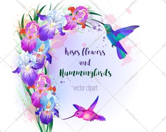 Hummingbird print floral wreath png, flying birds poster floral sublimation