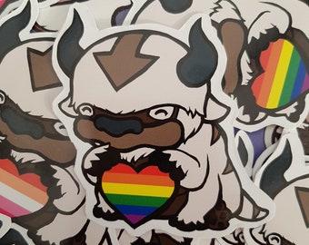 ATLA Inspired Appa Pride Sticker Gay, Lesbian, Ace, Trans, Bi, Pan, Non-Binary Genderfluid Pride LGBTQ+ Flag Avatar the Last Airbender