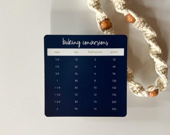 Baking Conversions Magnet   Navy Blue Simple Minimal Magnetic 4 x 4 inch Reference for Refrigerator