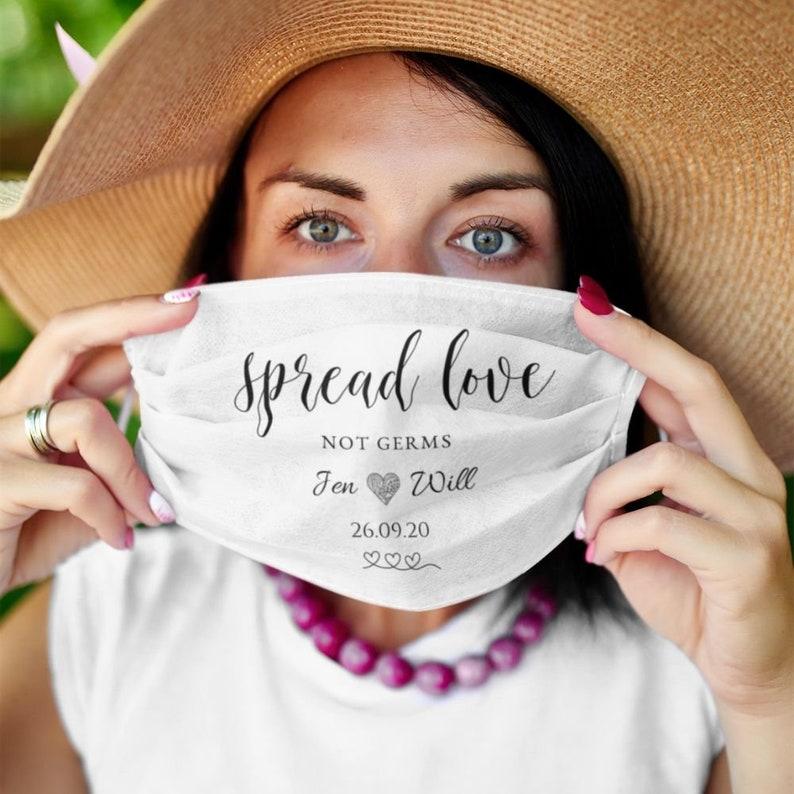Wedding Favors Wedding Masks Spread love not germs image 2 - deze producten bestelden jullie het meest in 2020