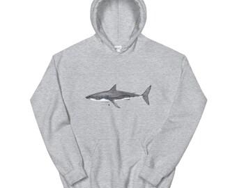 Great White Shark Illustration Drawing Childrens Unisex Kids Hooded Sweater Sweatshirt Hoodie Cosy Cute TumblrFree ship