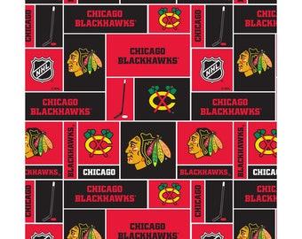 1 Yard NHL Chicago Blackhawks Cotton Fabric Block - Price per 1 Yard