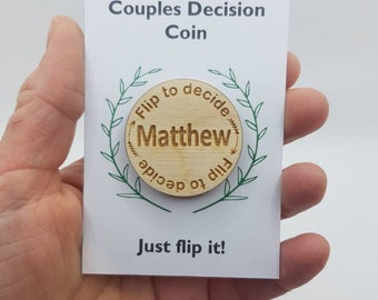Couples, decision, flip coin, personalised, novelty gift, joke, funny present, Father's Day