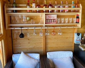 Wall mounted wine / gin / beer rack. Kitchen bar handmade unique