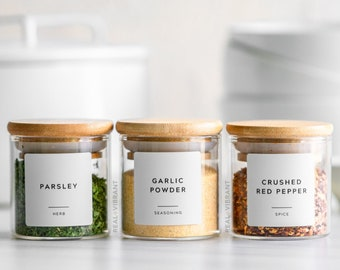 Spice Labels (Contemporary Collection) • Custom Spice Labels •  Water Resistant • Modern Spice Jar Labels • Durable