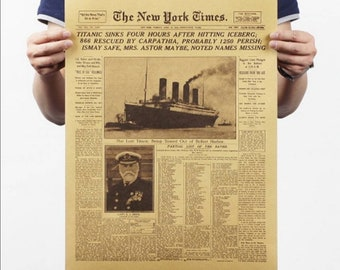 Great Gift! 3rd Class Pass Ticket by CoolSong4u2c BOSTON GLOBE Vintage Repro RMS Titanic Newspaper Reprint on Historic 1912 Ship Sinking