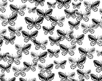 Tonal Butterflies C7811, Black butterflies on white cotton, Benartex, Sold by the yard