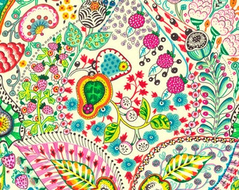 Boho chic style by QT Fabrics, very soft 100% cotton, pink, turquoise, yellow floral, sold by the yard or half-yard