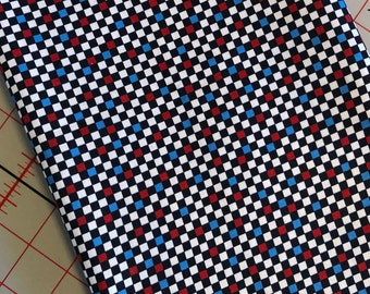 QT Fabrics, 100% Cotton, Sold by the yard, Red White Blue and Black Checkers