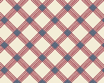 Salute - Old Glory Plaid A-8858-L White by Kathy Hall for Andover Fabric, Patriotic, 100% Cotton, Sold by the yard