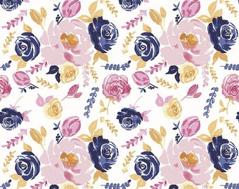 100% rayon challis lightweight. Perfect for flowing dresses. Print features clusters of flowers and leaves. Sold by the half yard.