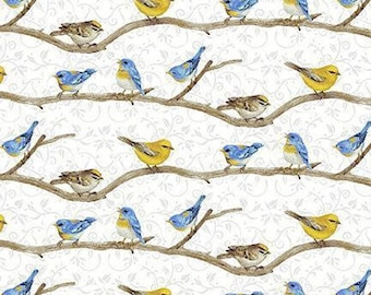 Hydrangea Birdsong, Birds on a Branch 1761-90 by Jane Shasky for Henry Glass, 100% Cotton, Sold by the yard.