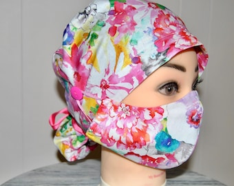 Cute Scrub Caps with Ponytail and Buttons for your Mask, Doctors or Nurse Gift, Handmade in Made in USA
