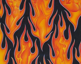 """Shapes of Fire from Alexander Henry Fabrics. 100% Cotton. Sold by the yard. 6"""" repeat flames orange and black"""