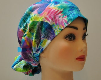 High or Low Bun Surgical Scrub Cap with Buttons for Mask, 100% high-quality cotton fabric, Great for Nurse Doctor Dentist or Medical Staff