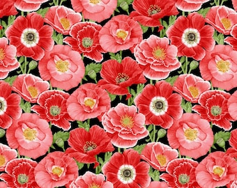 Henry Glass - Poppy Meadows Collection, 100% Cotton, Large poppies on black background, Sold by the yard.