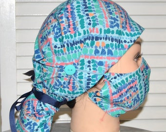 Surgical Scrub Cap with Buttons / Scrub Hat for Women with Ponytail. Surgical Mask, Scrub Cap and Mask, Nurse Gift, KimKaps, Medical Hat
