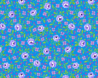 Small purple and green flowers on blue cotton. Fabric by the yard, half-yard. 100% Quilting Cotton