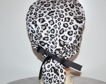 Leopard print scrub cap with ponytail pouch and buttons for mask, Black & Gray, Surgery cap, Scrub hat, Nurse gift, Doctors, Vets, Dentist