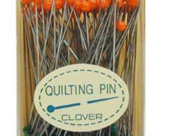 Quilting Pins with storage box, 100 pins 0.6mm x L48mm, Clover Needlecraft, Heat resistant glass heads