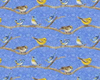 Hydrangea Birdsong - Birds on Branch Blue from Henry Glass Fabric, 100% Cotton, Sold by the yard.
