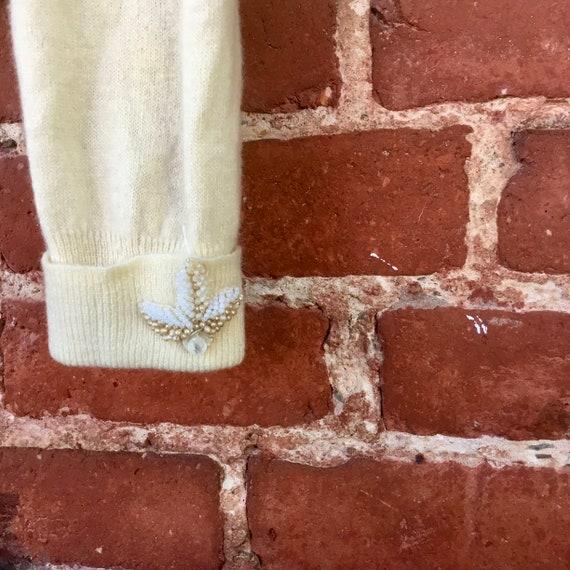 Embroidered Cream Cashmere Sweater - image 8