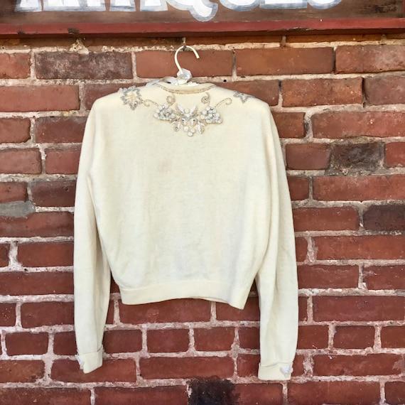Embroidered Cream Cashmere Sweater - image 5